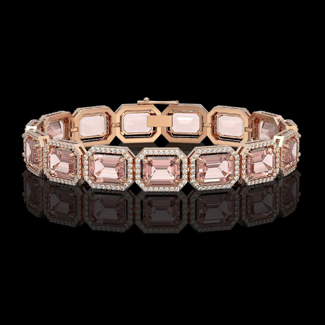 37.11 CTW Morganite & Diamond Halo Bracelet 10K Rose