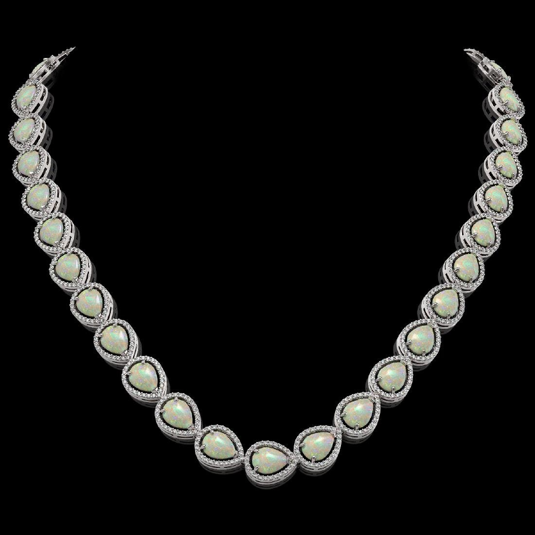 36.48 CTW Opal & Diamond Halo Necklace 10K White Gold