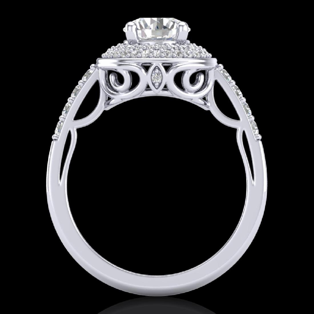 1.7 CTW VS/SI Diamond Solitaire Art Deco Ring 18K White