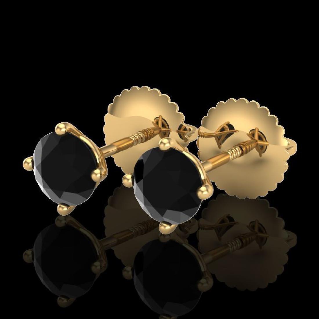 0.65 CTW Fancy Black Diamond Solitaire Art Deco Stud