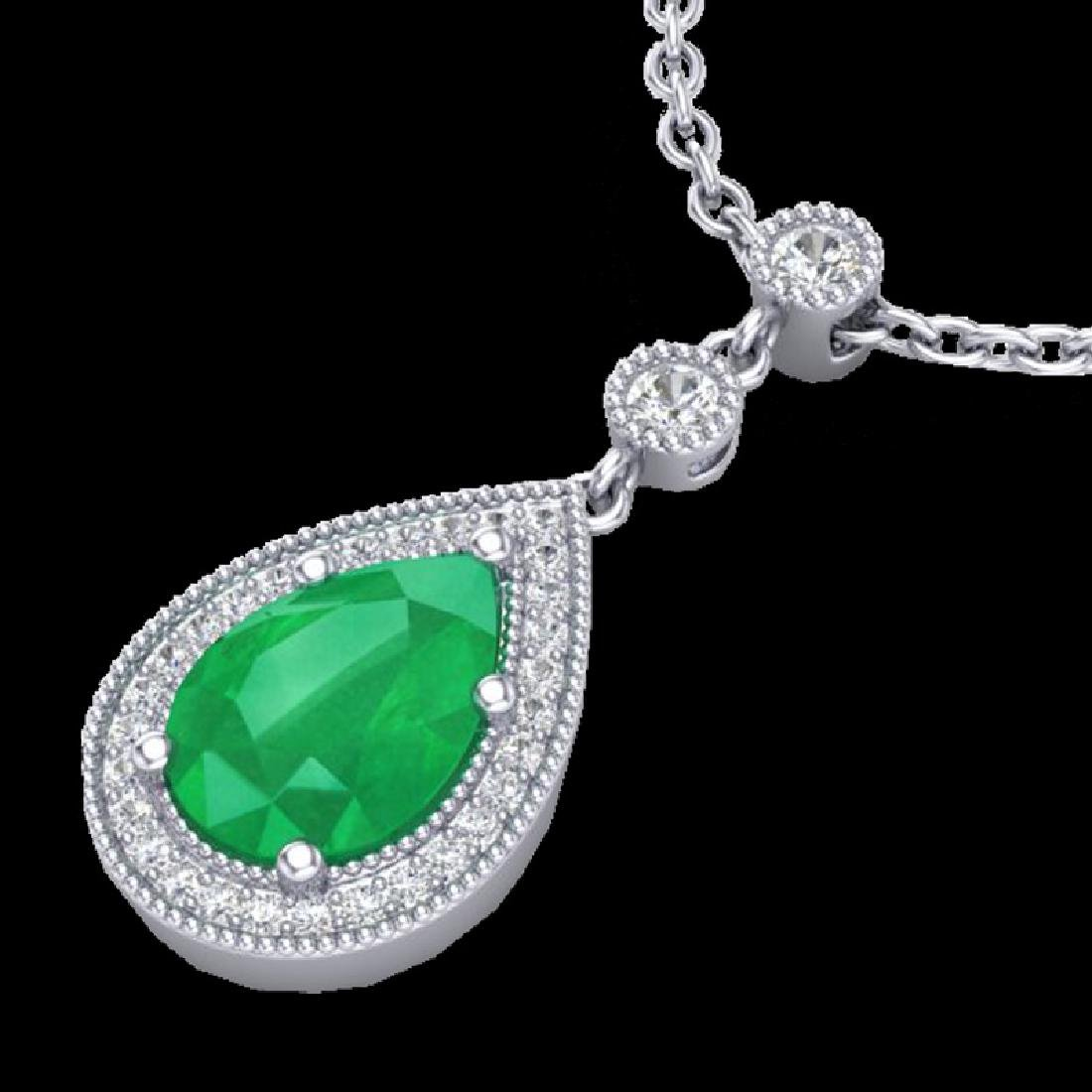 2.75 CTW Emerald & Micro Pave VS/SI Diamond Necklace