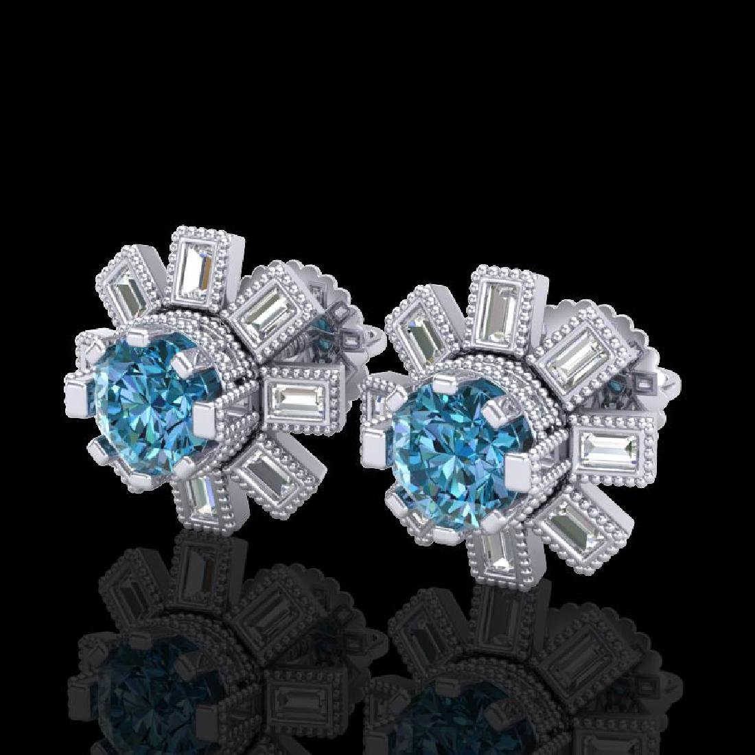 1.77 CTW Fancy Intense Blue Diamond Art Deco Stud