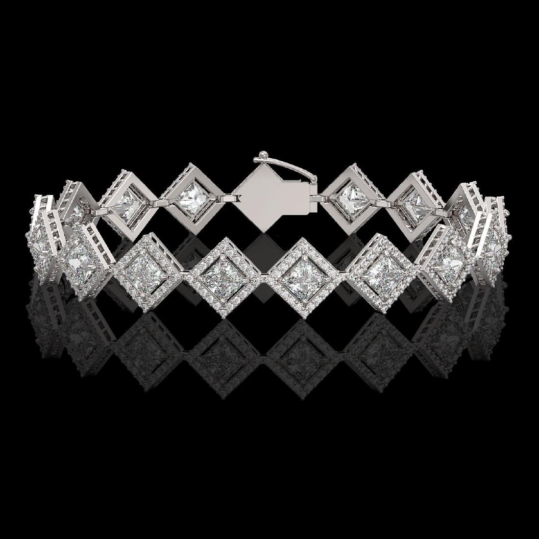 11.7 CTW Princess Cut Diamond Designer Bracelet 18K