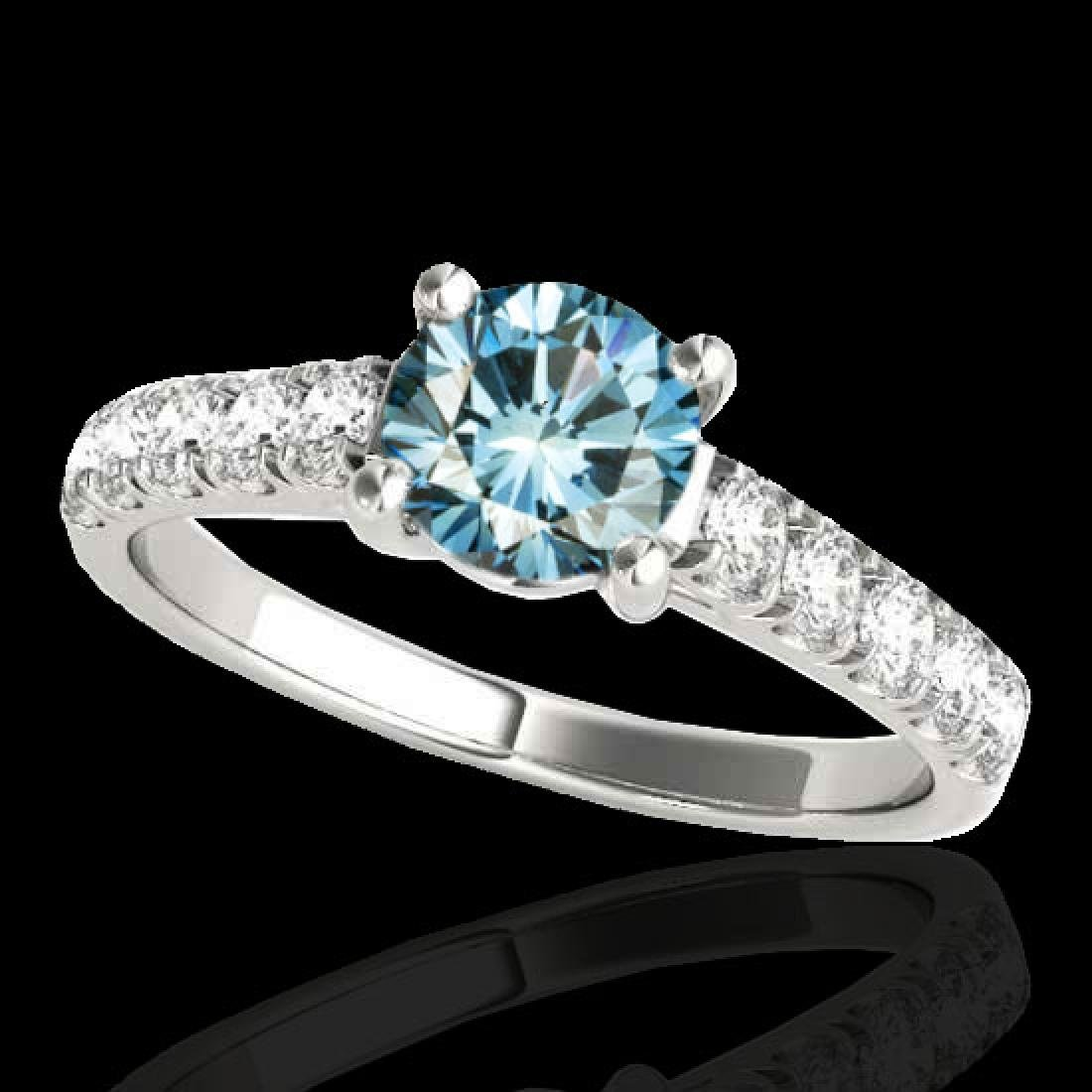 1.55 CTW SI Certified Fancy Blue Diamond Solitaire Ring