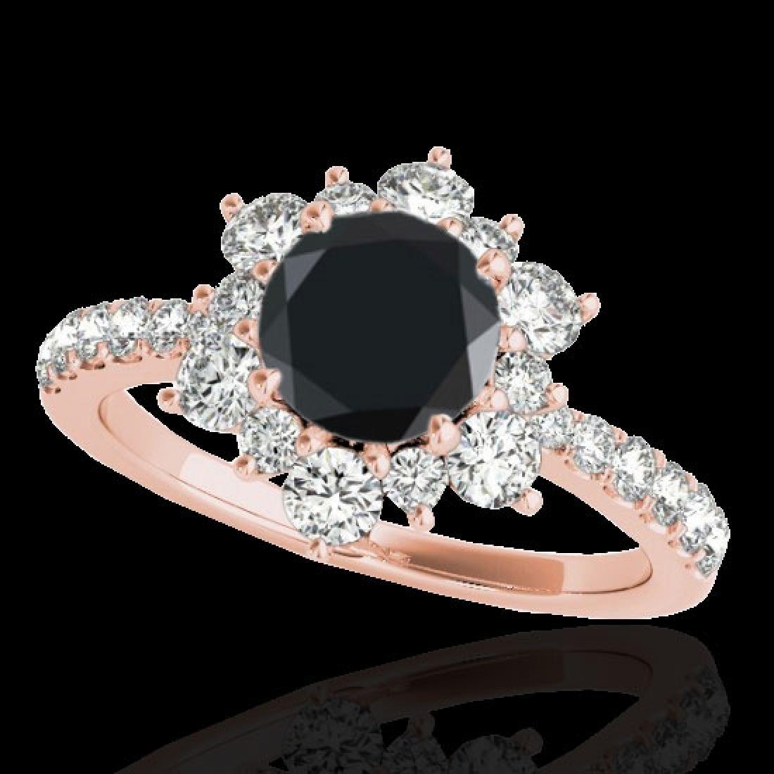2.19 CTW Certified VS Black Diamond Solitaire Halo Ring