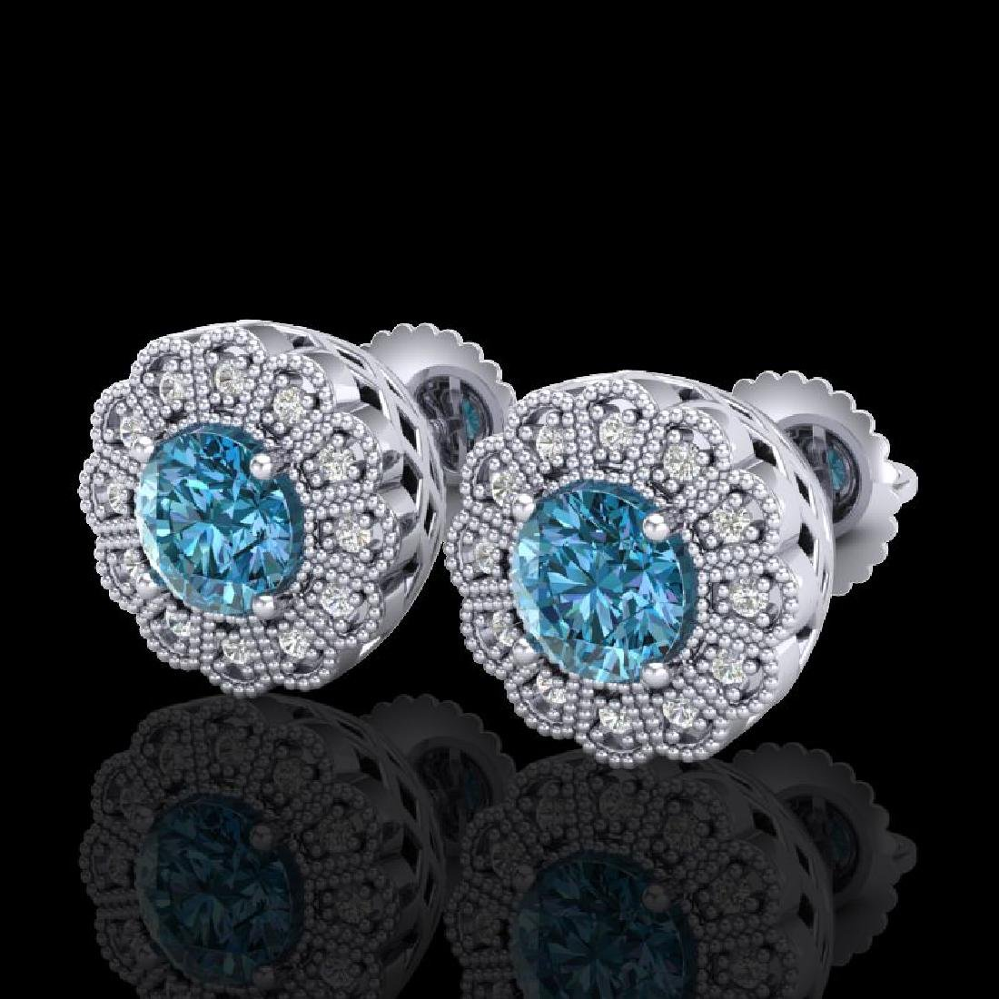 1.32 CTW Fancy Intense Blue Diamond Art Deco Stud