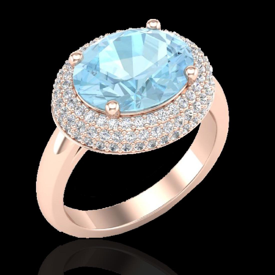 4 CTW Aquamarine & Micro Pave VS/SI Diamond Ring 14K