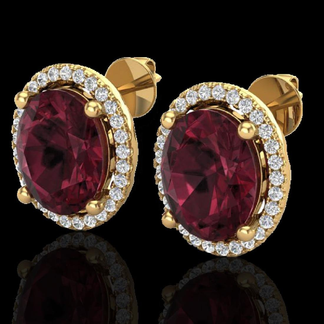 5 CTW Garnet & Micro Pave VS/SI Diamond Earrings Halo