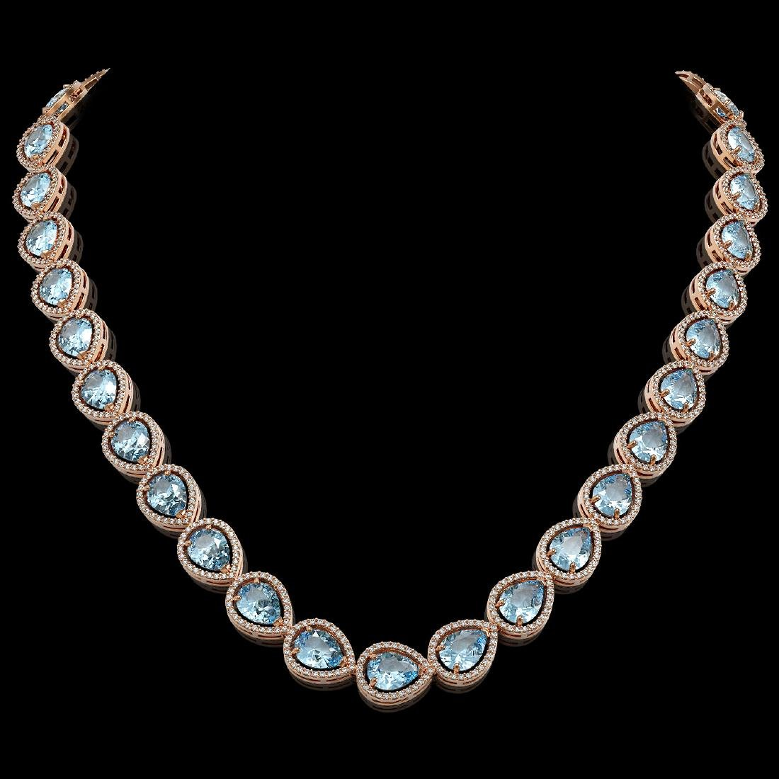 41.6 CTW Aquamarine & Diamond Halo Necklace 10K Rose