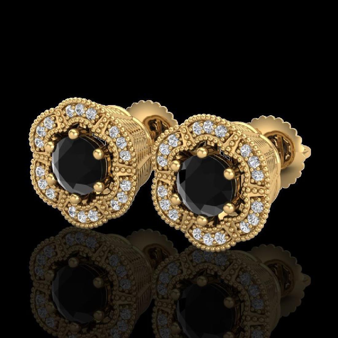 1.51 CTW Fancy Black Diamond Solitaire Art Deco Stud