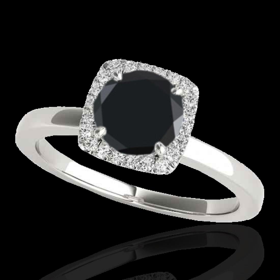 1.15 CTW Certified VS Black Diamond Solitaire Halo Ring