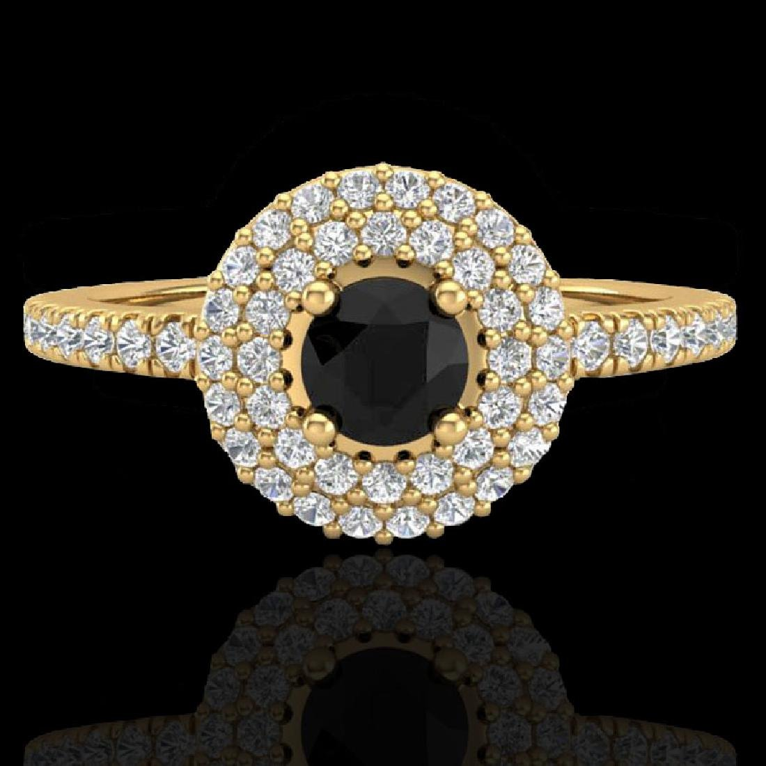 0.80 CTW Micro VS/SI Diamond Designer Ring 18K Yellow