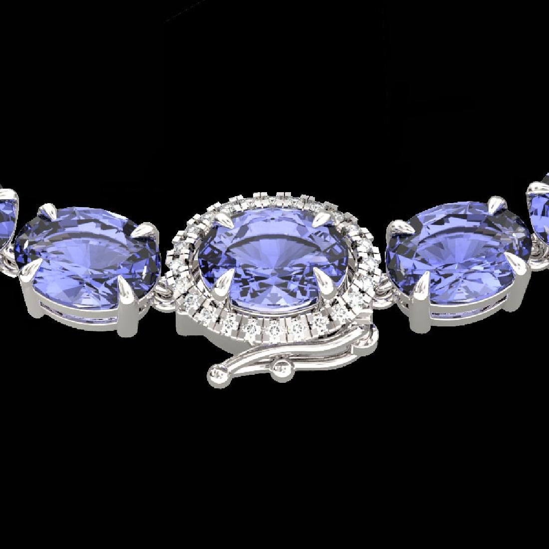 80 CTW Tanzanite & VS/SI Diamond Tennis Micro Halo