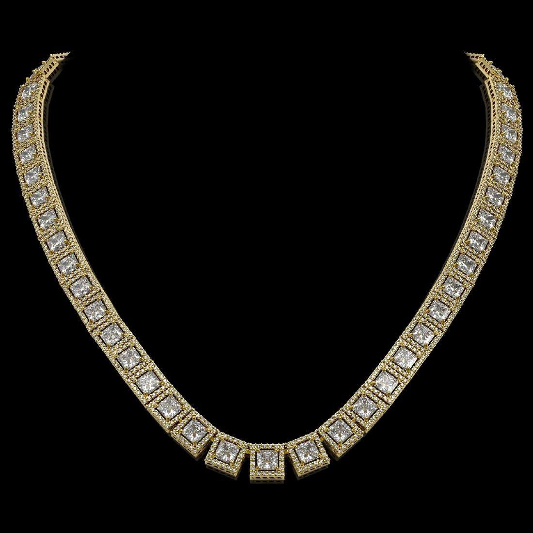 36.30 CTW Princess Diamond Designer Necklace 18K Yellow