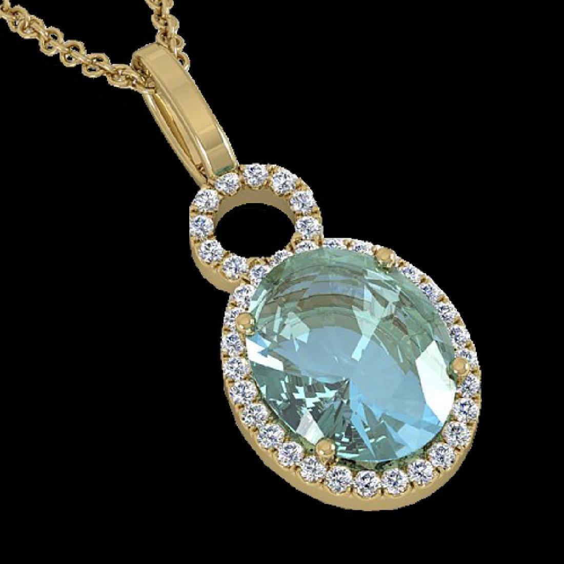4 CTW Sky Blue Topaz & Pave Halo VS/SI Diamond Necklace