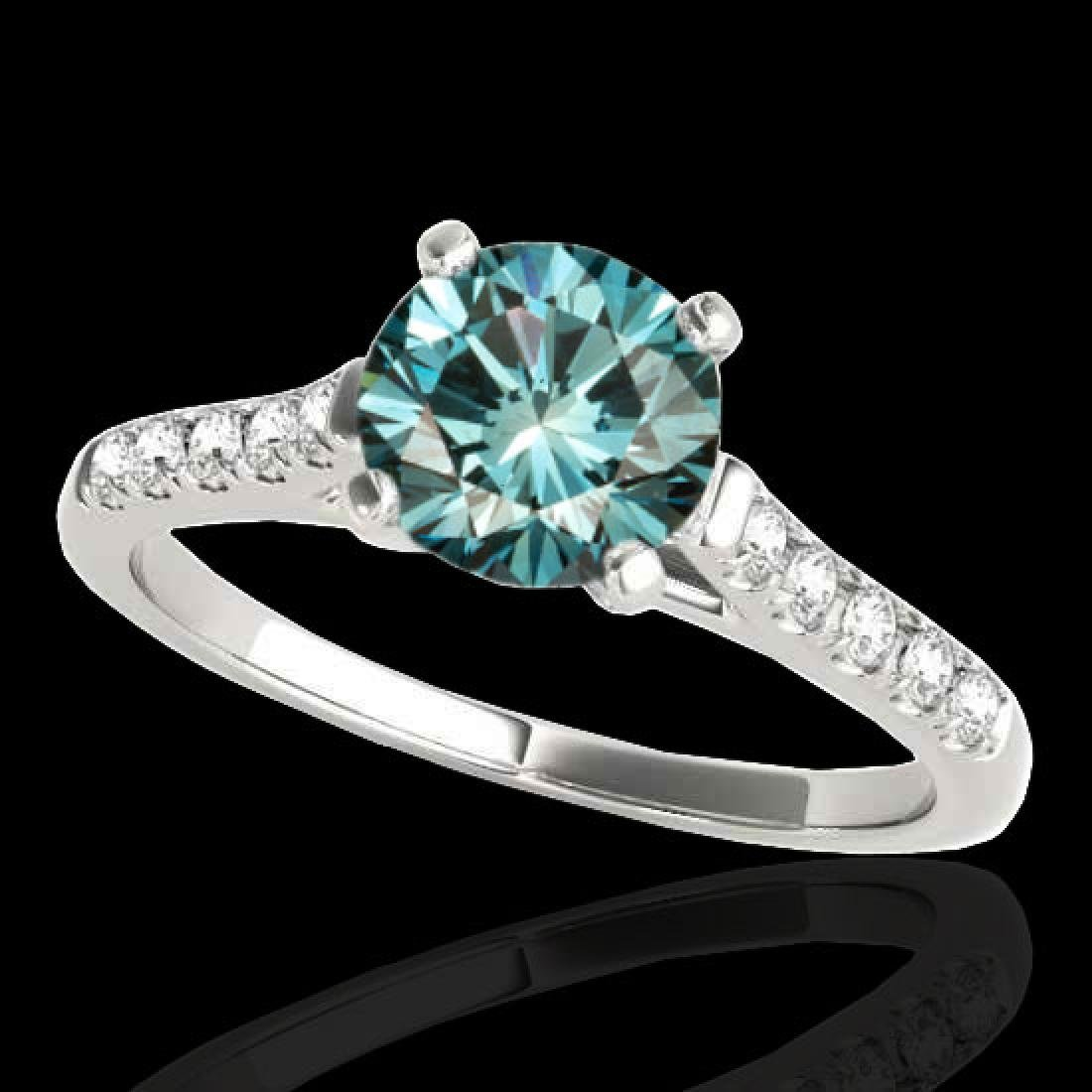 1.45 CTW SI Certified Fancy Blue Diamond Solitaire Ring