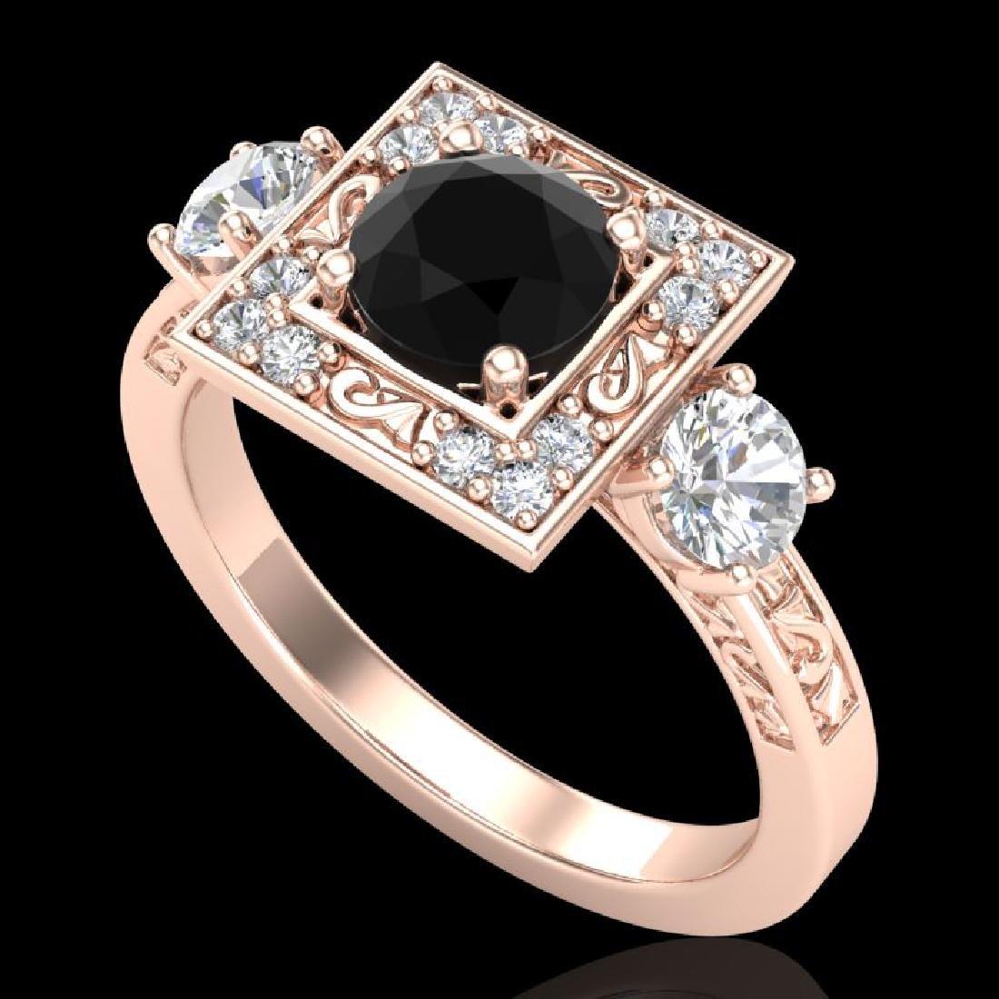 1.55 CTW Fancy Black Diamond Solitaire Art Deco 3 Stone