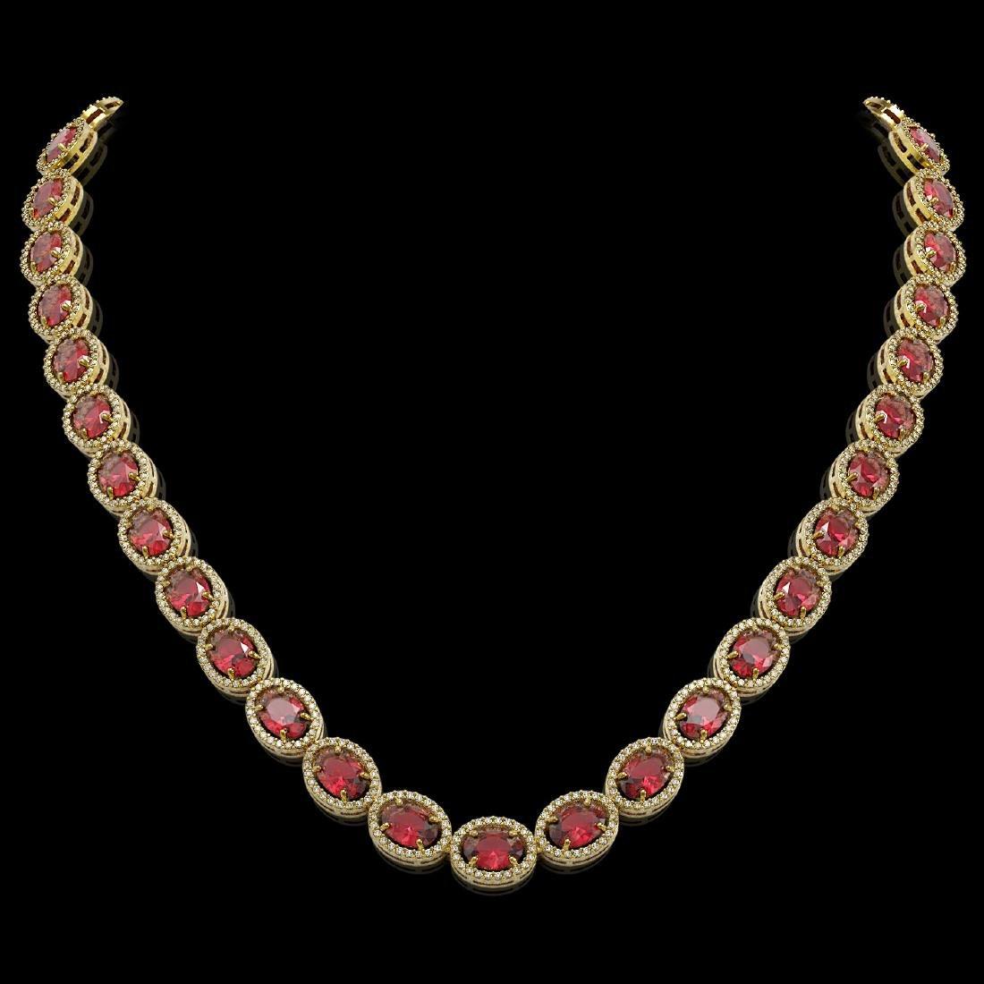 49.46 CTW Tourmaline & Diamond Halo Necklace 10K Yellow