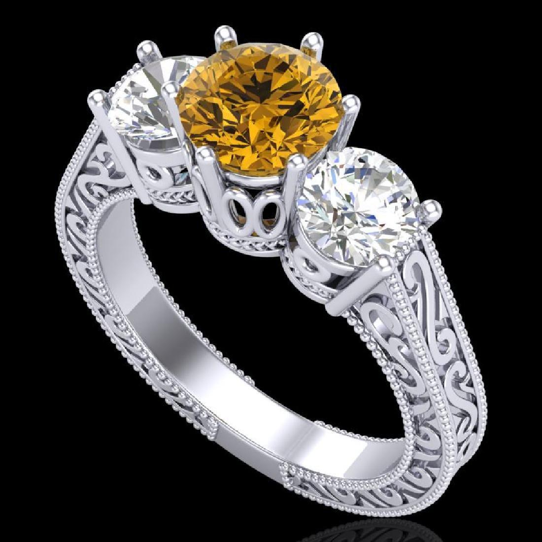 2.01 CTW Intense Fancy Yellow Diamond Art Deco 3 Stone
