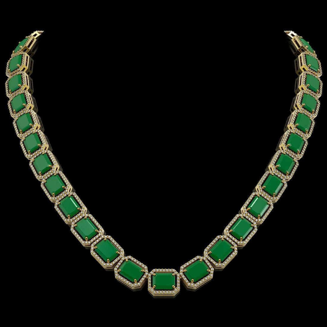 84.94 CTW Emerald & Diamond Halo Necklace 10K Yellow