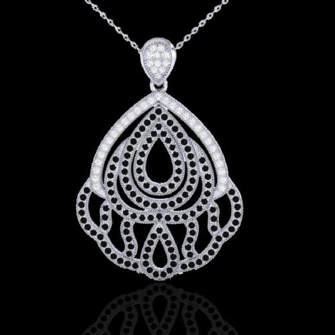 1.50 CTW Micro Black & VS/SI Diamond Necklace Designer