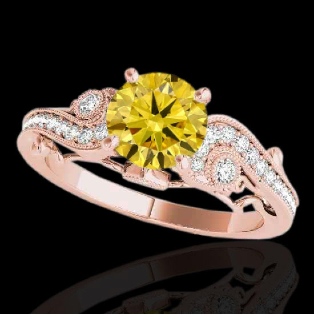 1.5 CTW Certified Si Intense Yellow Diamond Solitaire