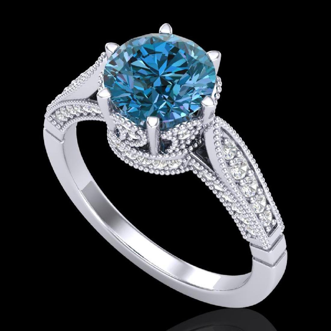 2.2 CTW Intense Blue Diamond Solitaire Engagement Art