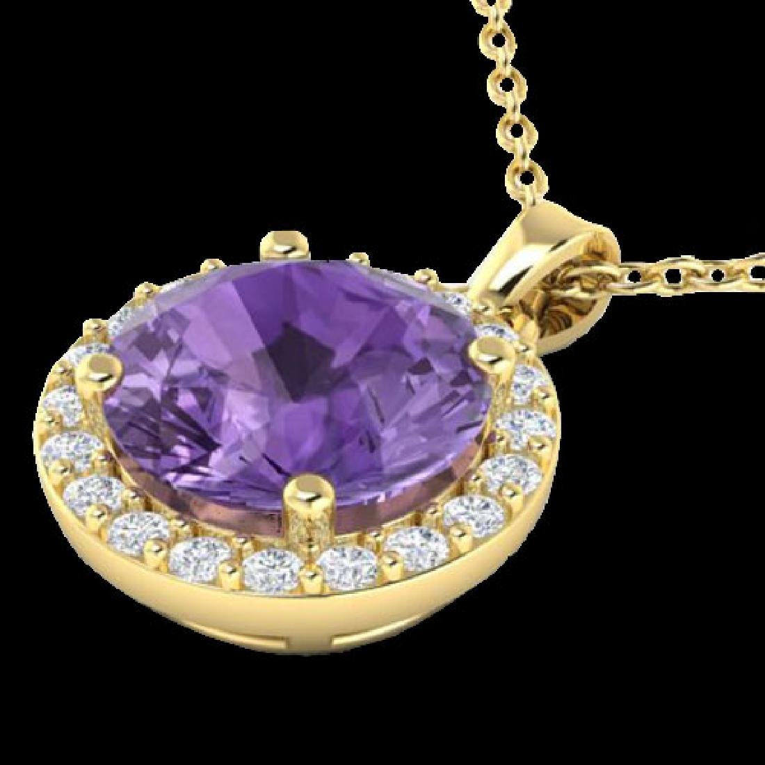2 CTW Amethyst & Halo VS/SI Diamond Micro Pave Necklace