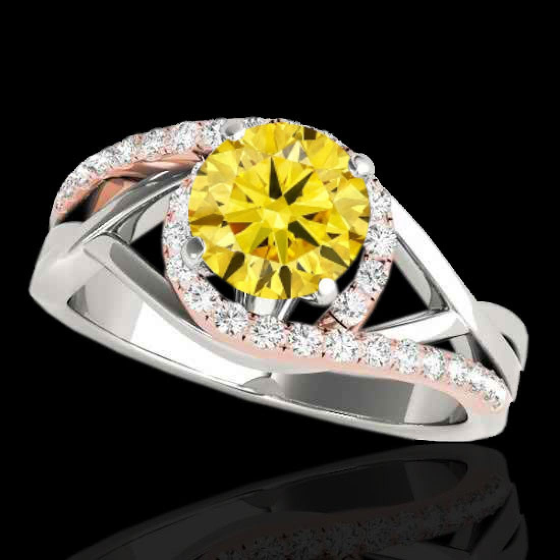 1.55 CTW Certified Si Fancy Diamond Bypass Solitaire