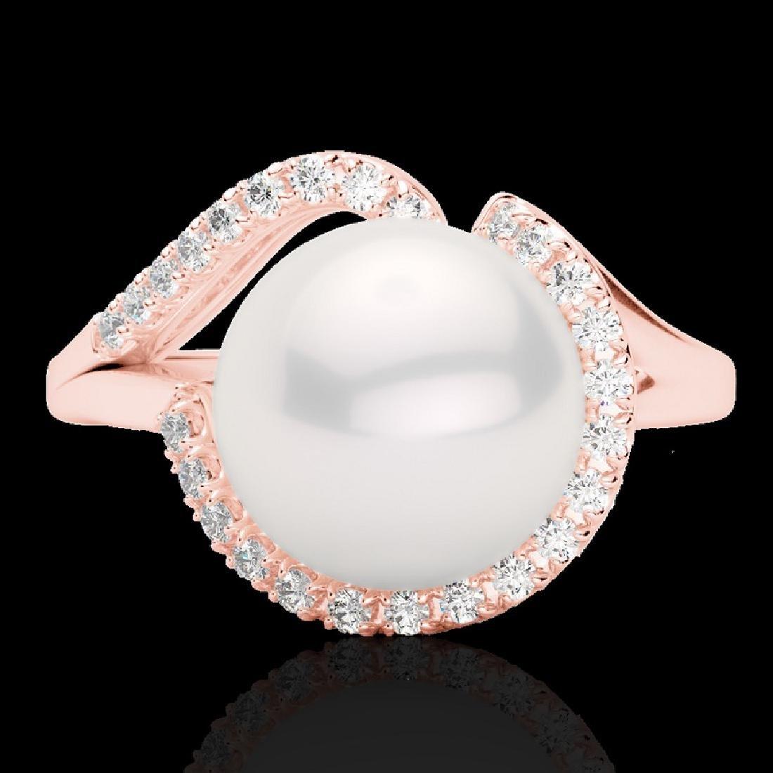 0.27 CTW VS/SI Diamond & White Pearl Designer Ring 14K