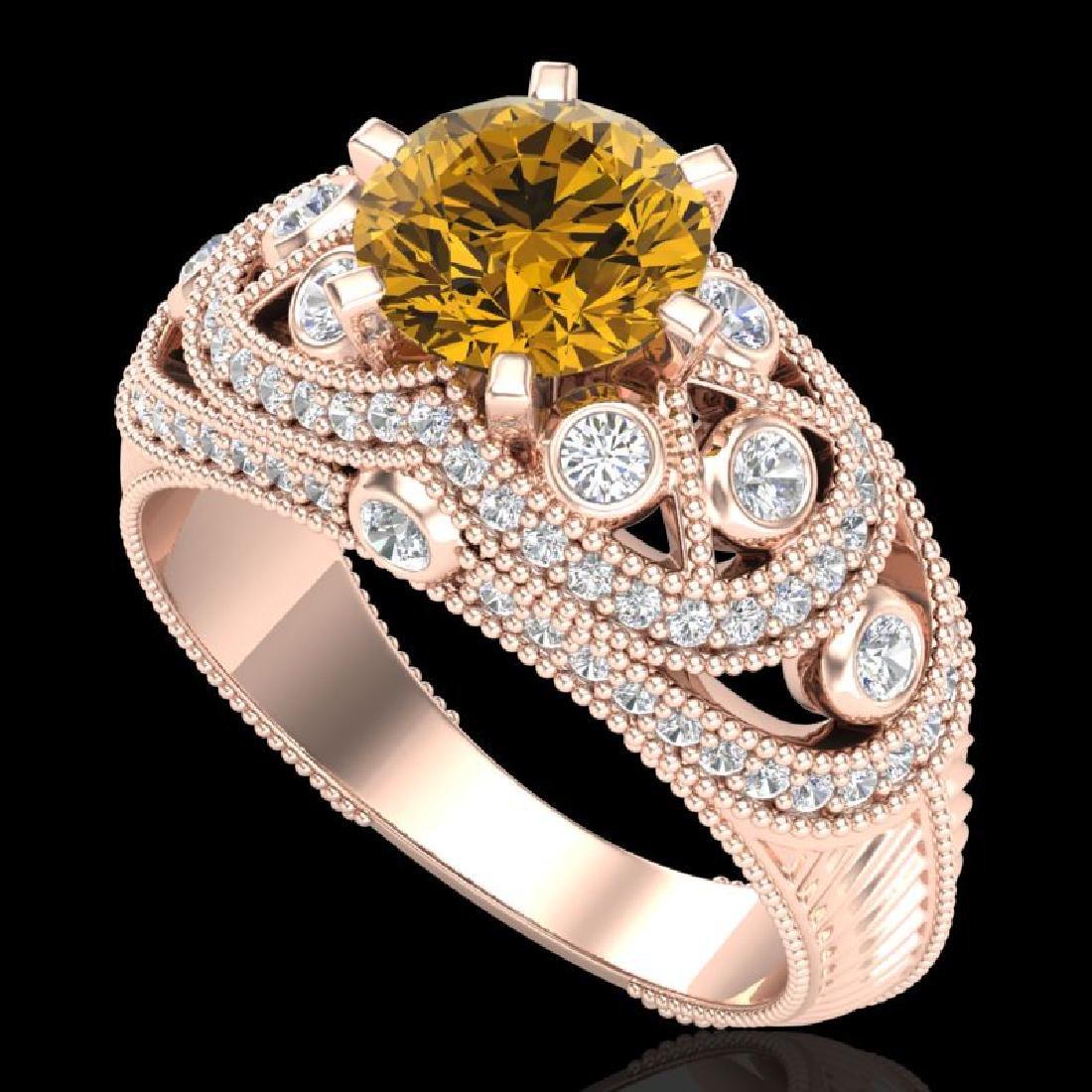 2 CTW Intense Yellow Diamond Solitaire Engagement Art