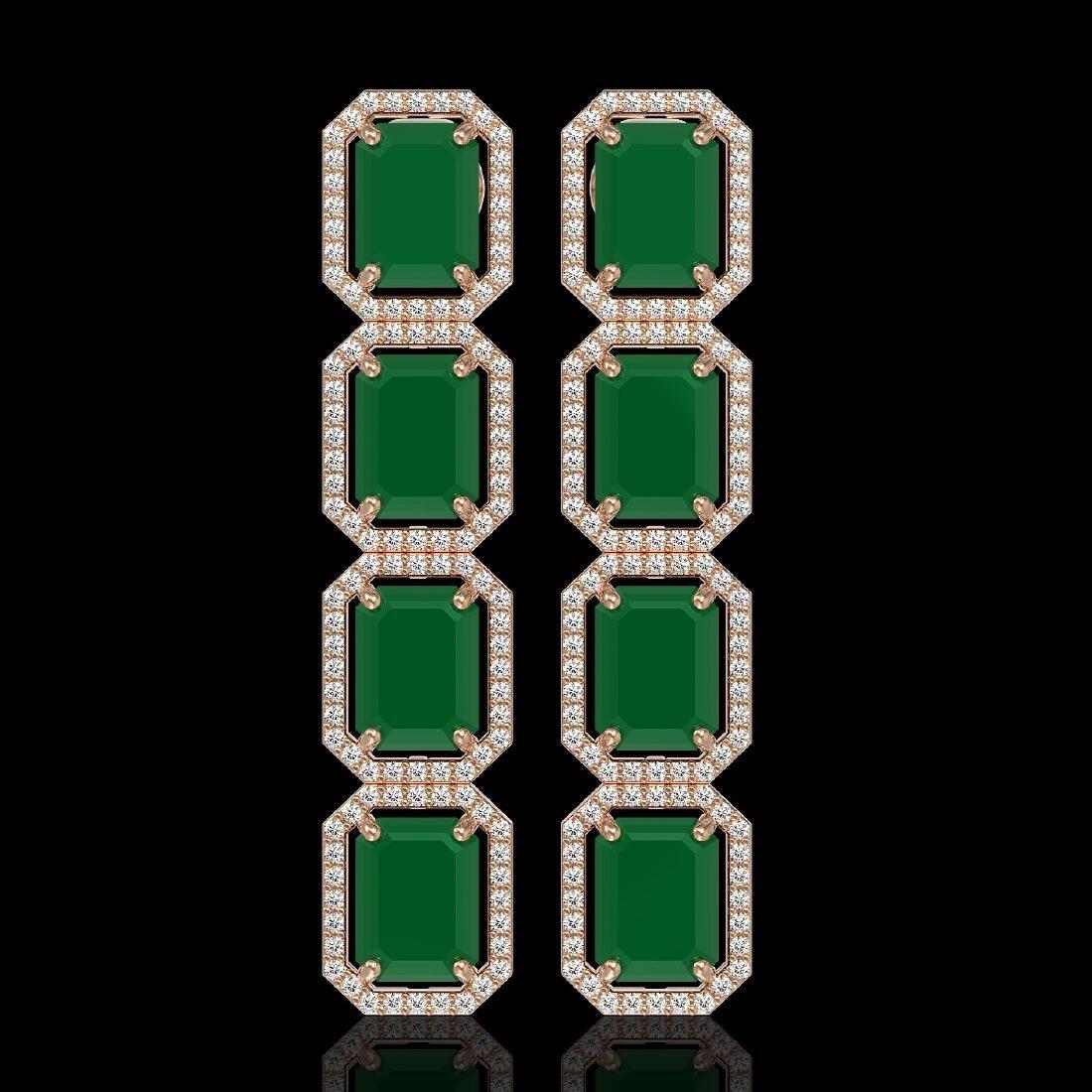 20.59 CTW Emerald & Diamond Halo Earrings 10K Rose Gold