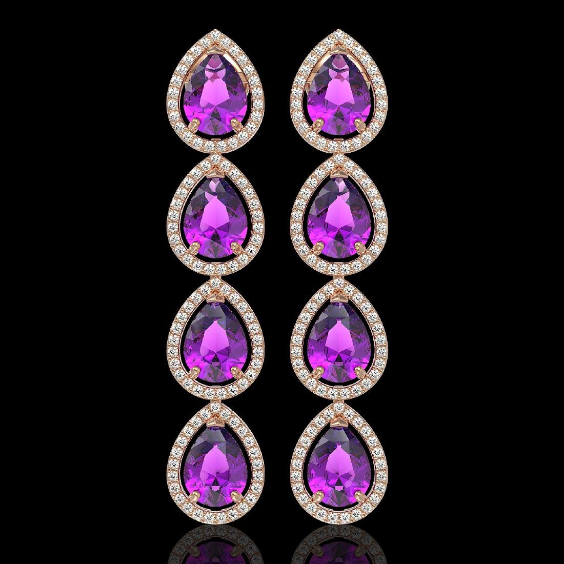 10.85 CTW Amethyst & Diamond Halo Earrings 10K Rose