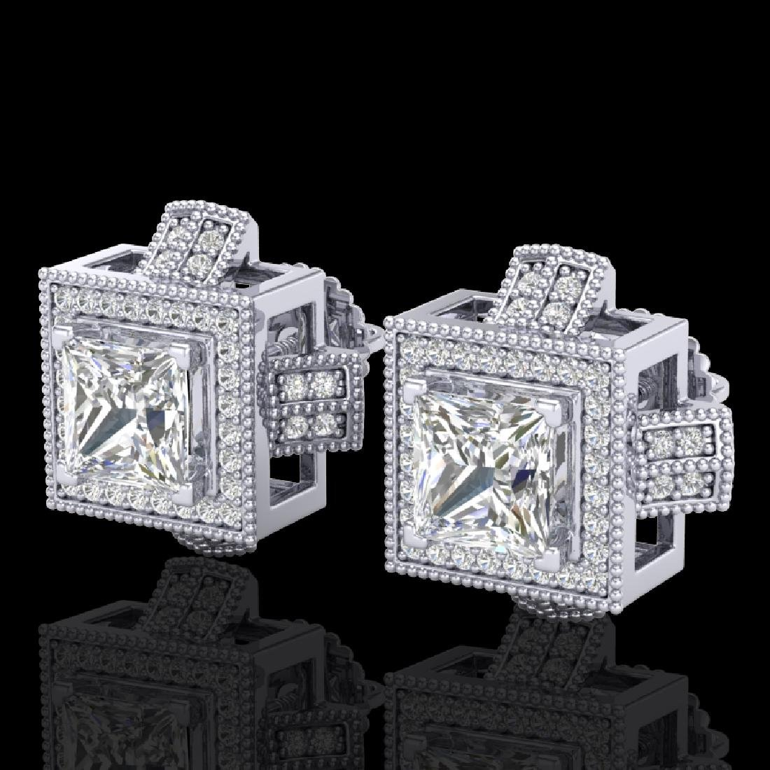 2.75 CTW Princess VS/SI Diamond Micro Pave Stud