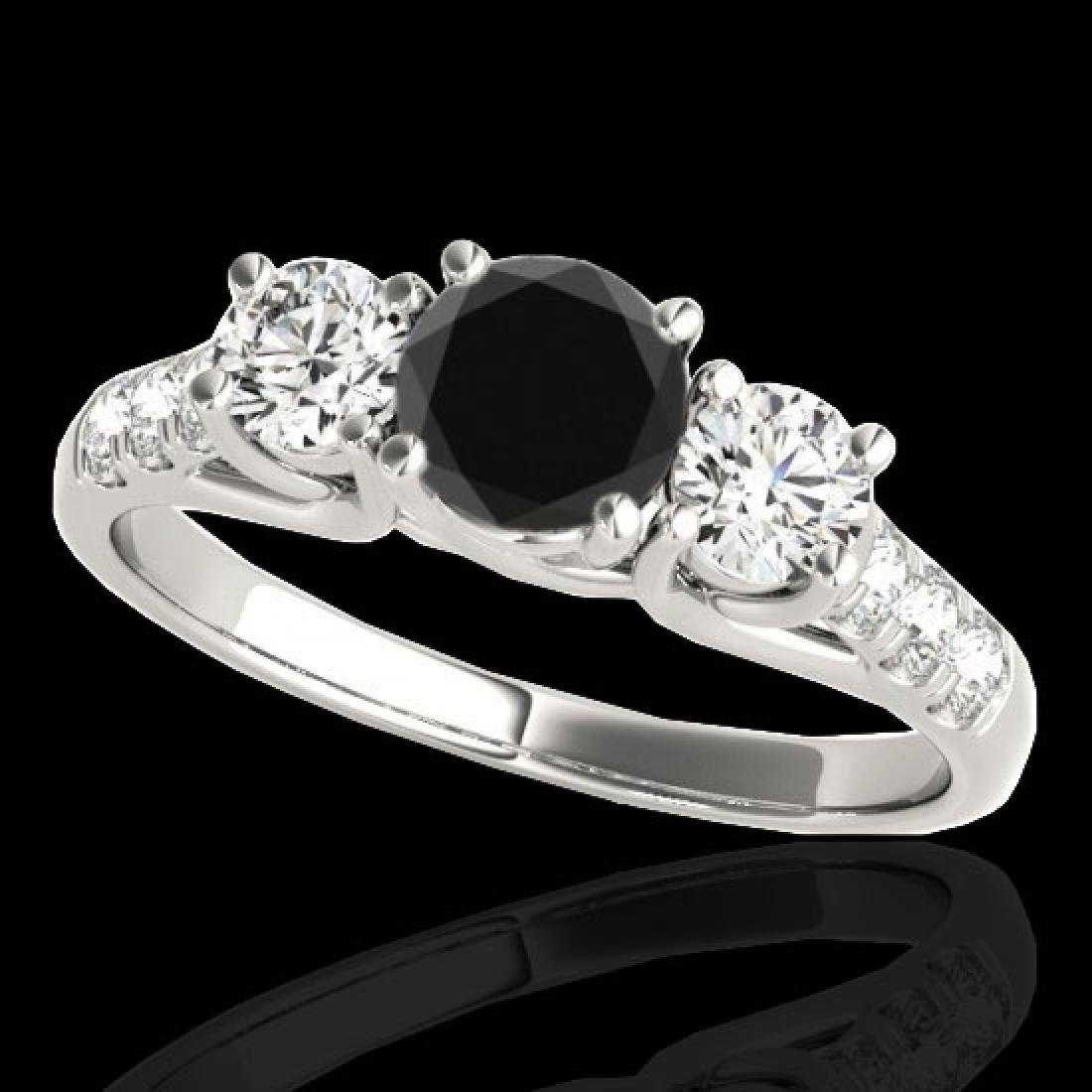 3.25 CTW Certified VS Black Diamond 3 Stone Ring 10K