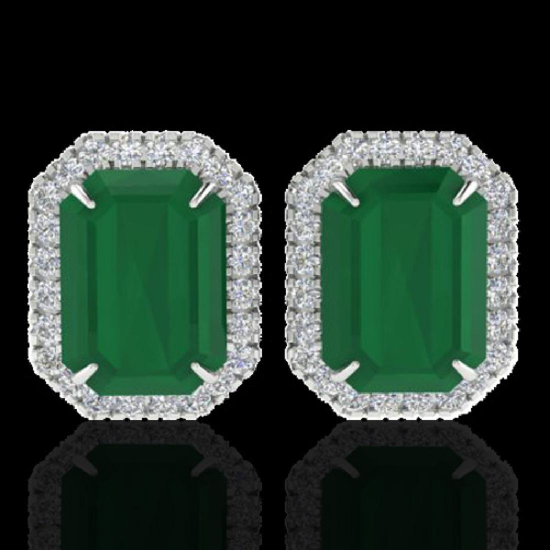 10.40 CTW Emerald & Micro Pave VS/SI Diamond Halo