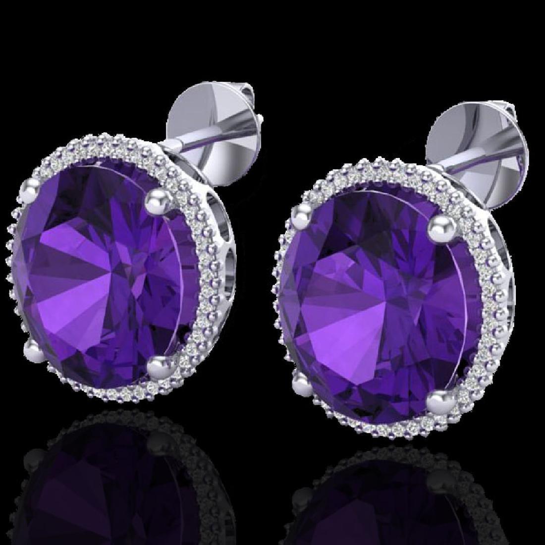 20 CTW Amethyst & Micro VS/SI Diamond Halo Pave