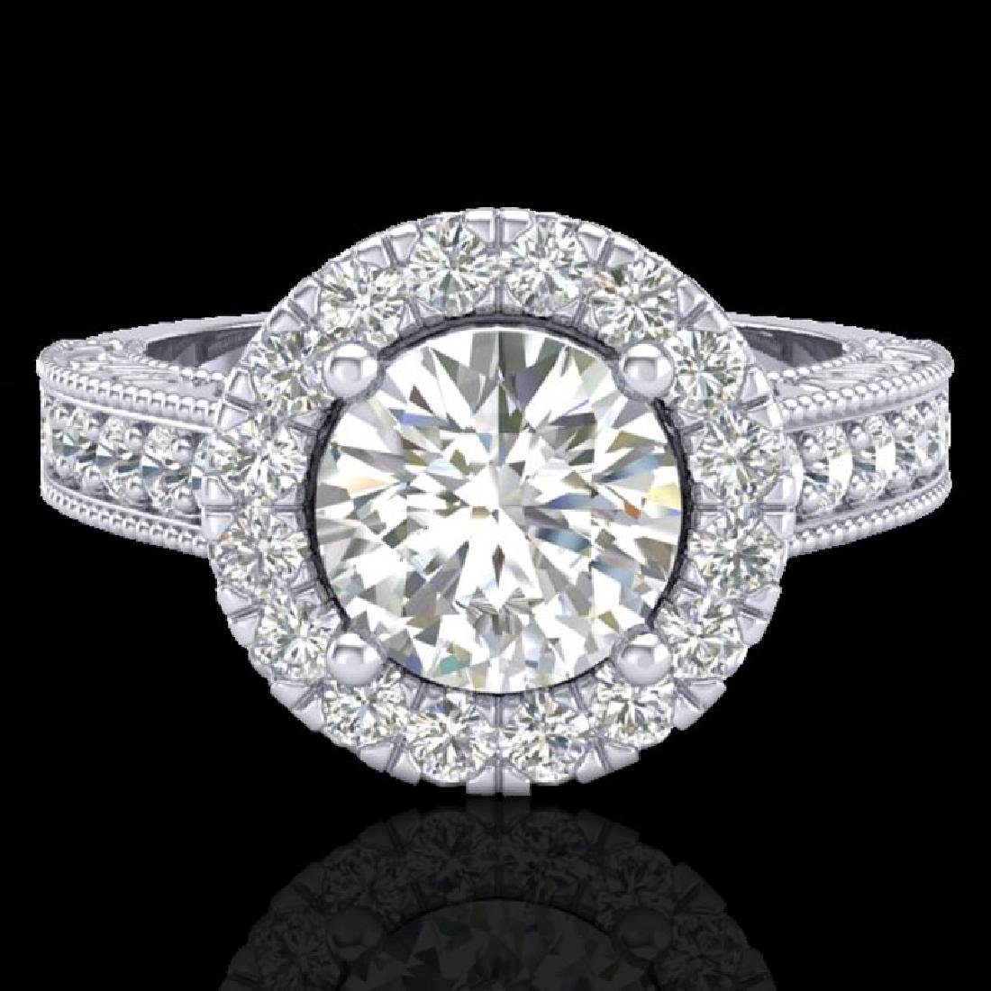 2.25 CTW Vintage Solitaire VS/SI Diamond Halo Ring 14K