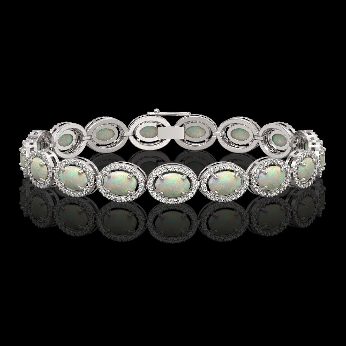 14.24 CTW Opal & Diamond Halo Bracelet 10K White Gold
