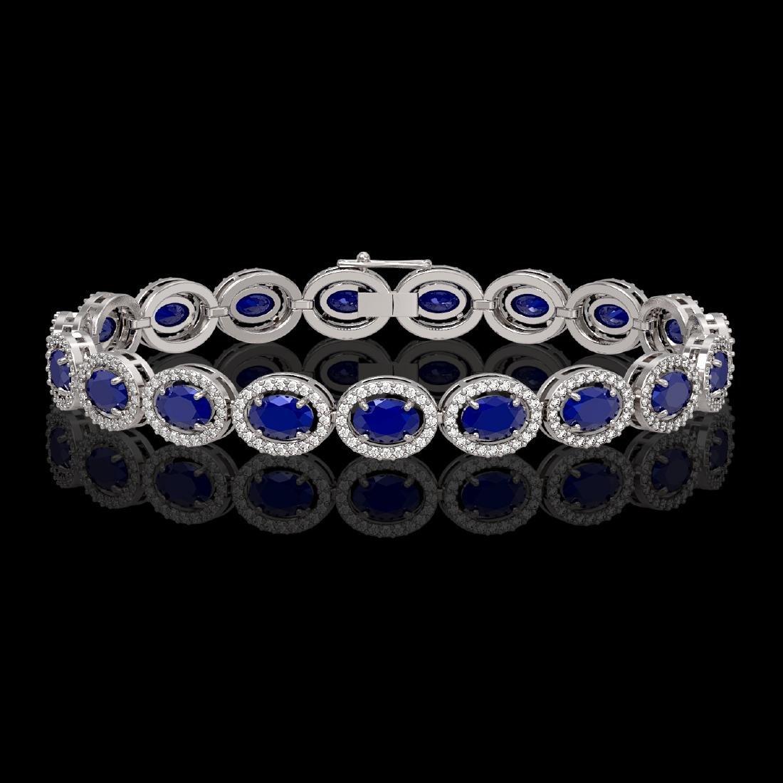 15.2 CTW Sapphire & Diamond Halo Bracelet 10K White