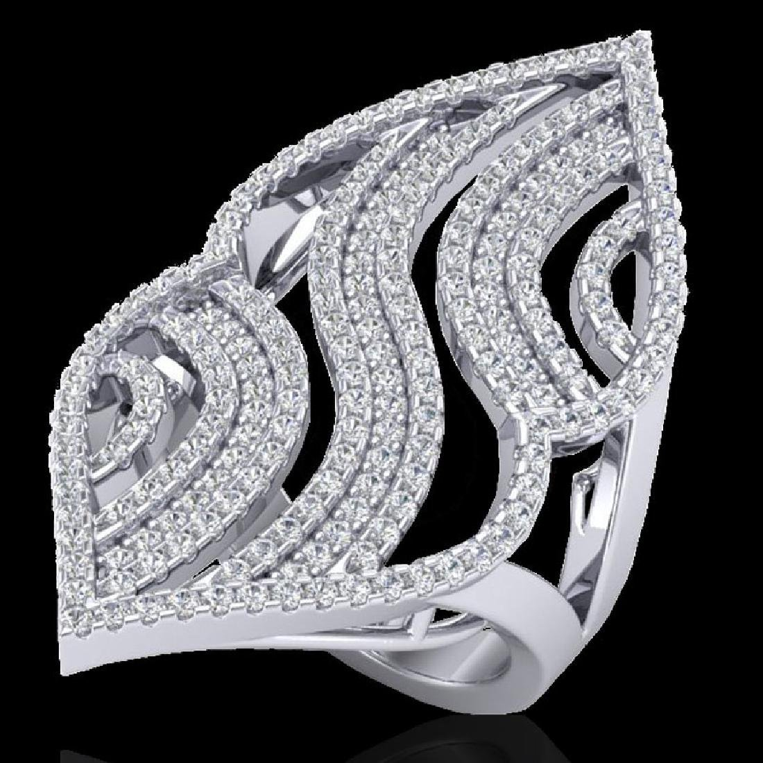 2 CTW Micro Pave VS/SI Diamond Designer Ring 14K White