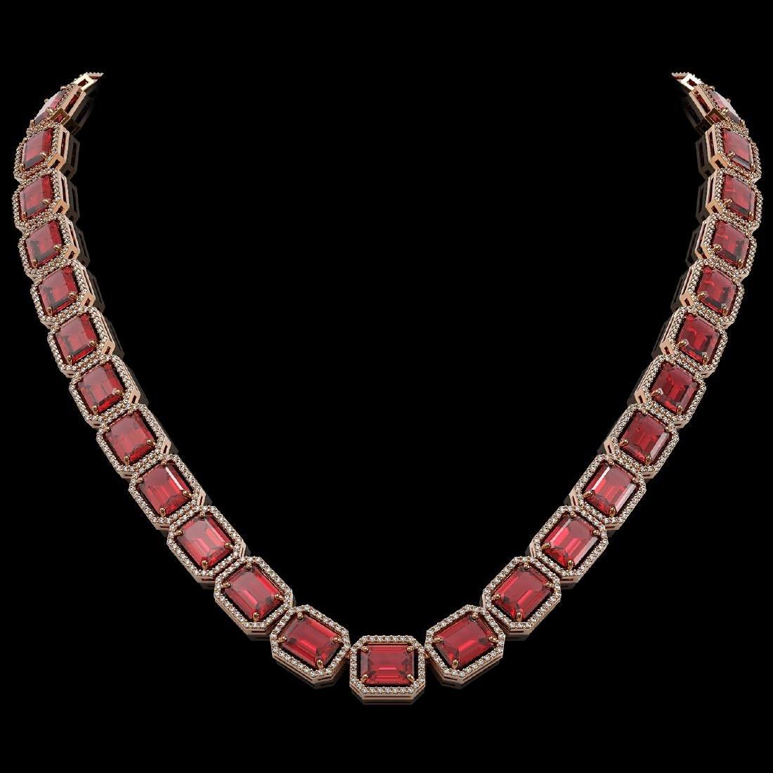 80.32 CTW Tourmaline & Diamond Halo Necklace 10K Rose