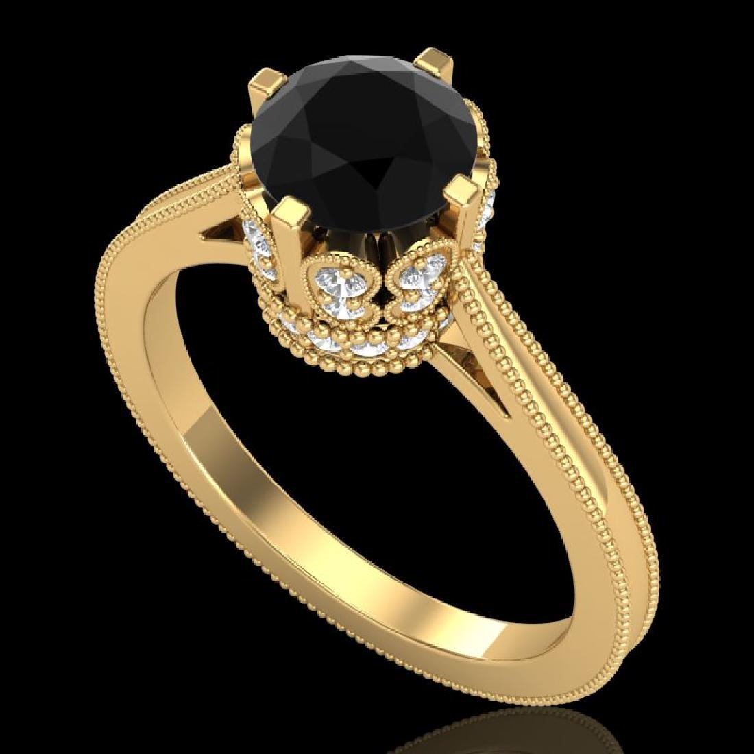 1.5 CTW Fancy Black Diamond Solitaire Engagement Art