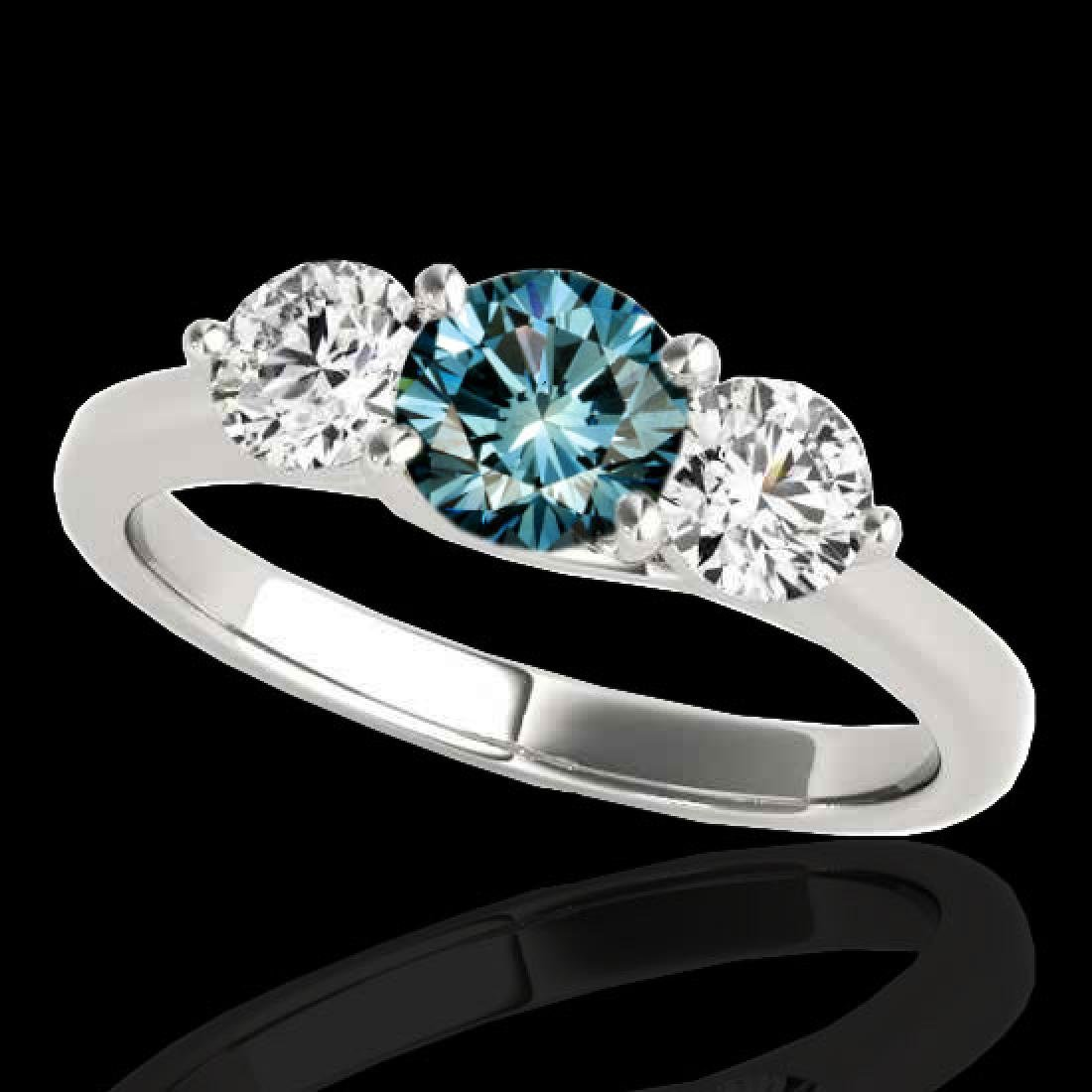 3 CTW SI Certified Fancy Blue Diamond 3 Stone Solitaire