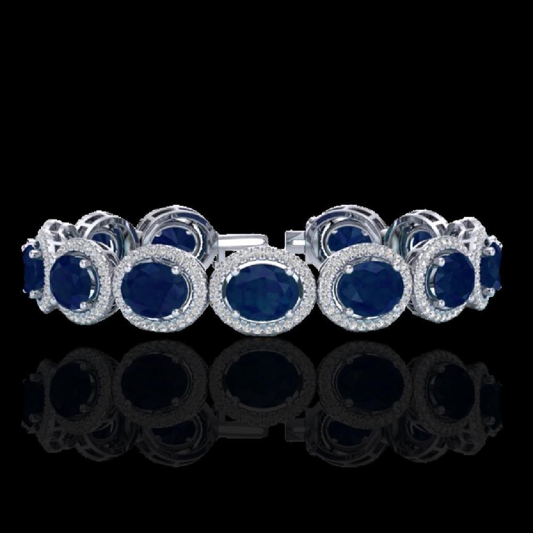30 CTW Sapphire & Micro Pave VS/SI Diamond Bracelet 10K