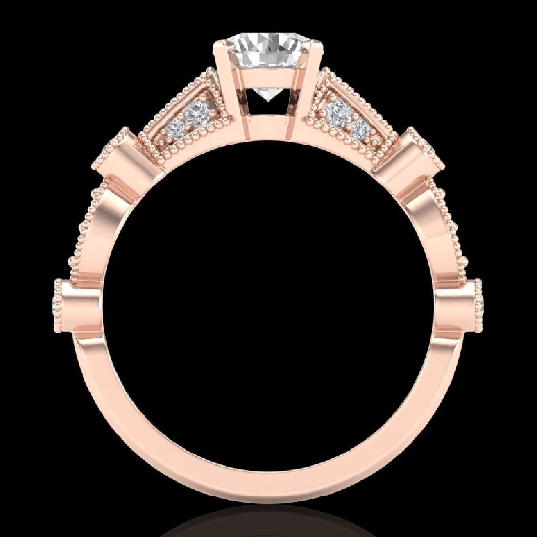 1.03 CTW VS/SI Diamond Solitaire Art Deco Ring 18K Rose