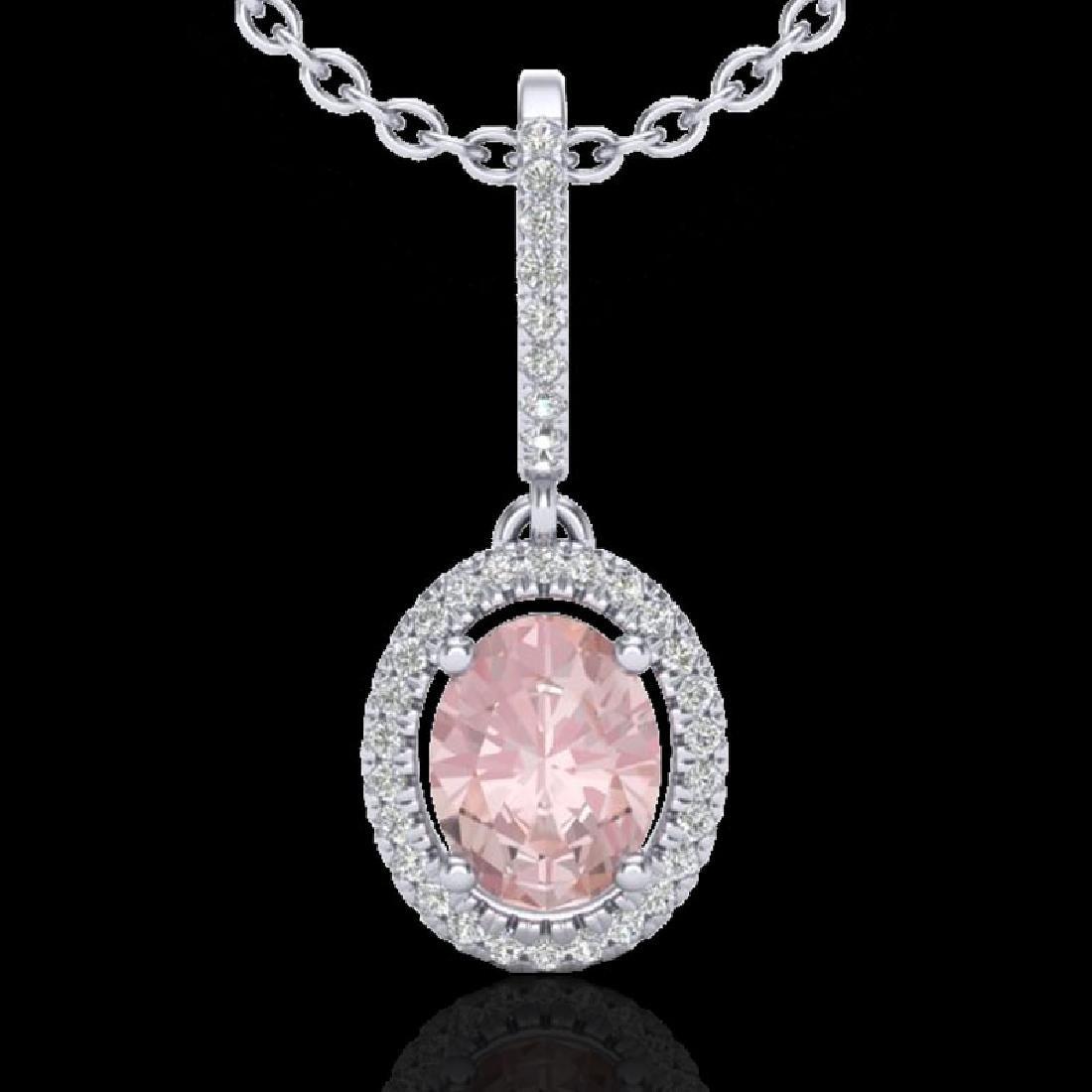 1.60 CTW Morganite & Micro VS/SI Diamond Necklace