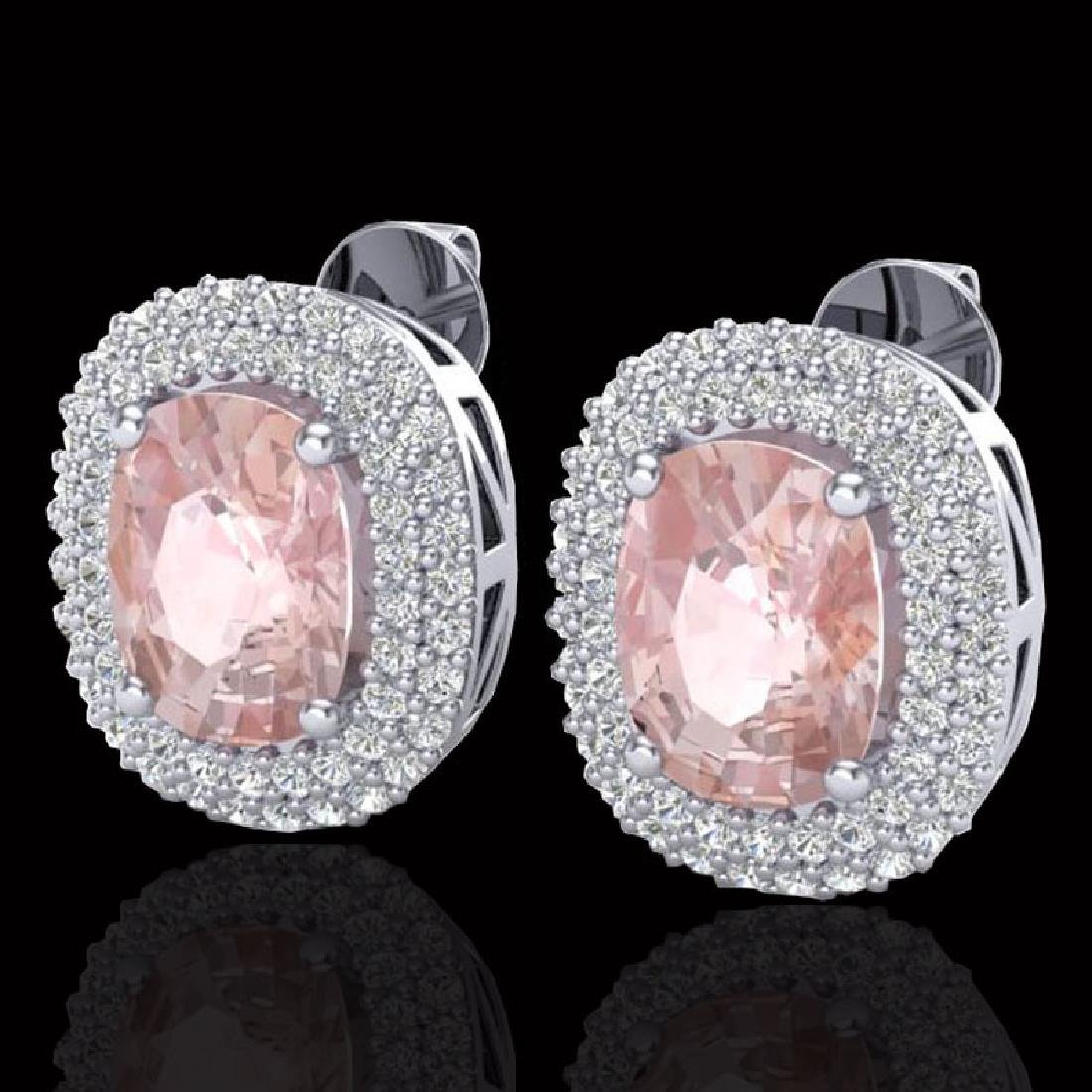 5.50 CTW Morganite & Micro Pave VS/SI Diamond Halo