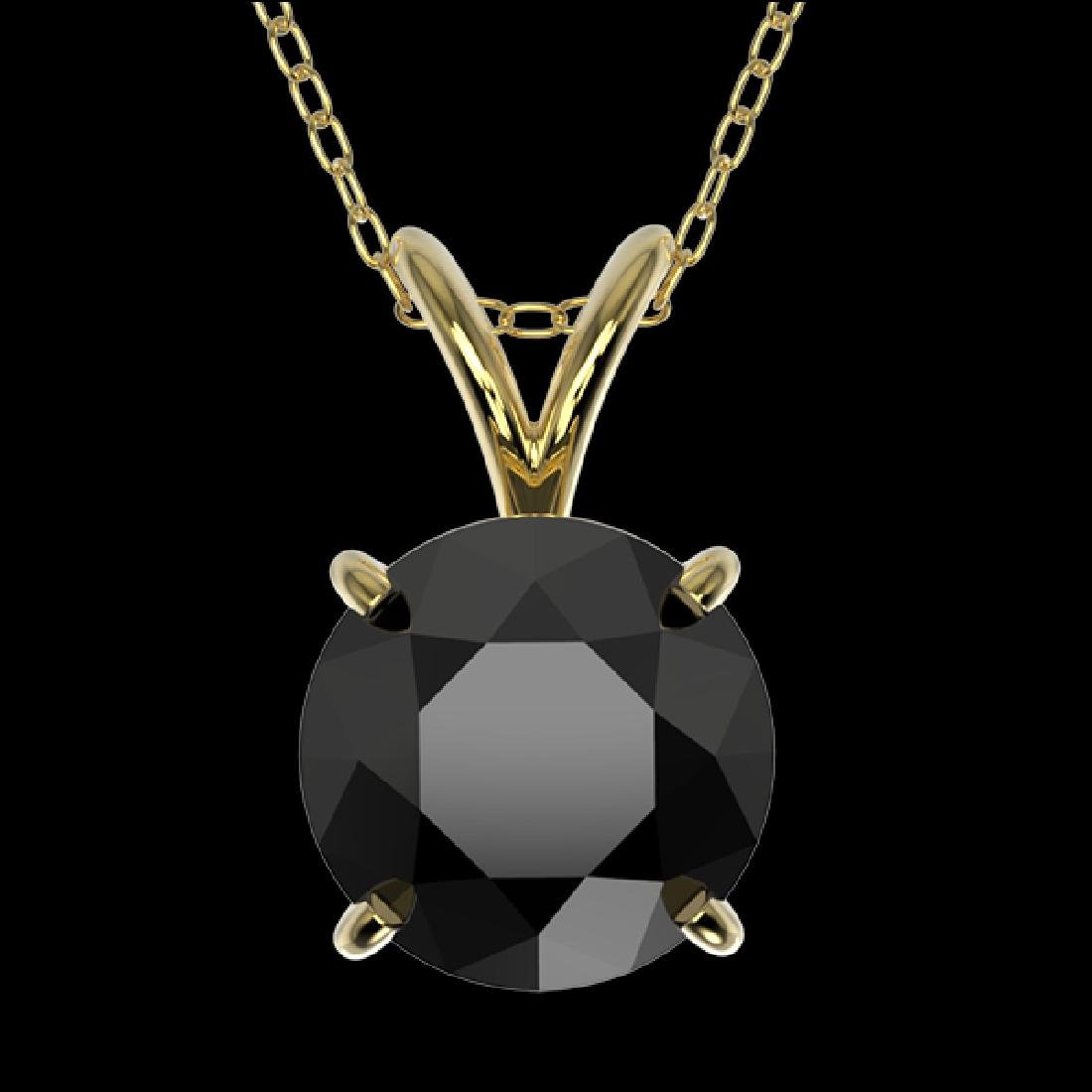 1.59 CTW Fancy Black VS Diamond Solitaire Necklace 10K