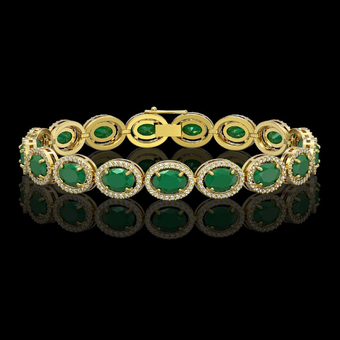 22.89 CTW Emerald & Diamond Halo Bracelet 10K Yellow